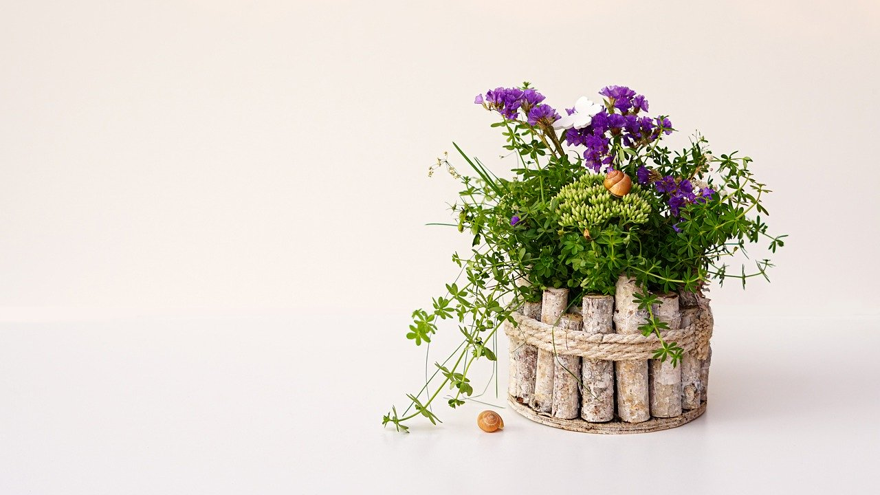 flower arrangement, wooden flower pot, decoration